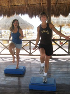 Susan Dawson-Cook teaching exercise class in Cancun