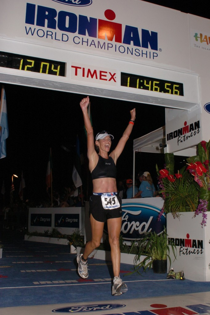 Mimi finishing 2005 Hawaii Ironman
