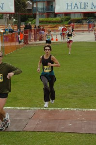 Susan Dawson-Cook finishing the La Jolla Shores 5K